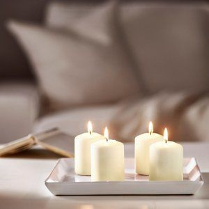 8 Pack - Unscented block White Pillar Candles